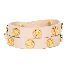 Picture of Antique White Leather Wrap with Gold Studs